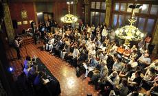 El hall del Teatro Nacional Cervantes en la presentación de las obras reunidas de Griselda Gambaro para las bibliotecas populares